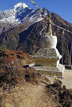 Historic stupa in front of Thamserku (6608), Sagarmatha National Park, Khumbu, Nepal