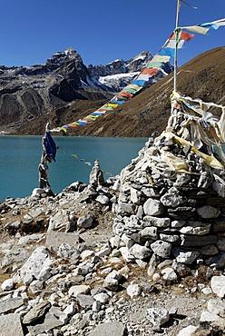 Holy lake Dudh Pokhari near Gokyo, Sagarmatha National Park, Khumbu Himal, Nepal