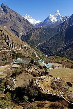View over Dudh Koshi valley towards Lhotse (8501) and Ama Dablam (6856), Sagarmatha National Park, Khumbu Himal, Nepal