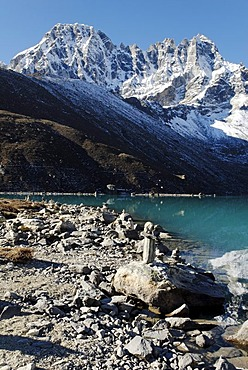 Holy lake Dudh Pokhari near Gokyo and Pharilapche(6017), Sagarmatha National Park, Khumbu, Nepal