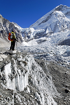 View from Everest Base Camp over Khumbu glacier towards Khumbu Icefall, Khumbu Himal, Sagarmatha National Park, Nepal