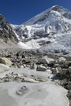 View from Everest Base Camp over Khumbu glacier towards Khumbu Icefall, Khumbu Himal, Sagarmatha National Park, Nepal