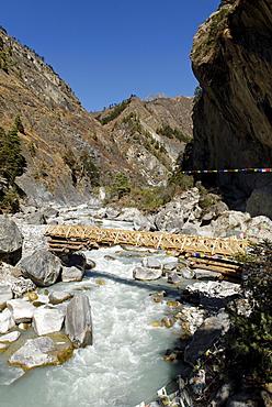 Bridge over Dudh Koshi river, Sagarmatha National Park, Khumbu, Nepal