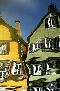 Houses reflected in the Neckar River, Tuebingen, Baden-Wuerttemberg, Germany, Europe