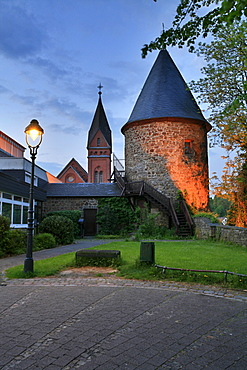 Hexenturm, Witches' Tower on the town wall in Olpe, North Rhine-Westphalia, Germany, Europe