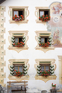 Historic windows decorated with sgraffito, Lower Engadin, Graubuenden/Grisons, Switzerland, Europe