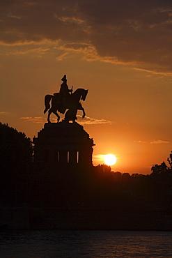 Equestrian statue of Kaiser Wilhelm, emperor, at the Deutsches Eck, sunset, Koblenz, Rhineland-Palatinate, Germany, Europe