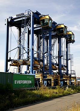 Container port, Duisburg, North Rhine-Westphalia, Germany