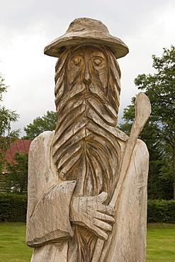 Wooden statue of Ruebezahl, Harrachov, Czech Republic
