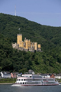 "The Excursion boat ""Stolzenfels"" in front of the Castle Stolzenfels near Koblenz, Rhineland-Palatinate, germany"