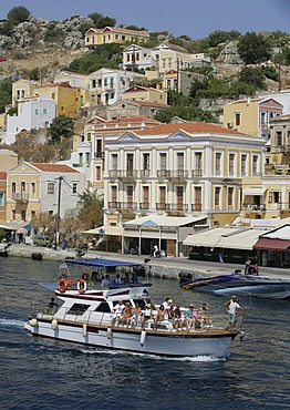 The Port of the Isle of Symi near Rhodes, Greece, Europe