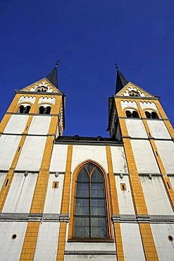 The steeples of St. Florin Church in Koblenz, Rhineland-Pfalatinate Germany