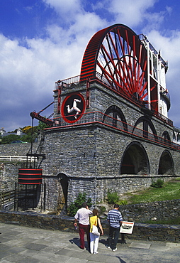 The Laxey Wheel transported the water from the Great Laxey Mining Company insideout till 1929, Isle of Man, Great Britain, Europa.