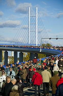 The new Ruegenbruecke (Ruegen bridge), connecting Stralsund and the island of Ruegen, Mecklenburg-Western Pomerania, Germany