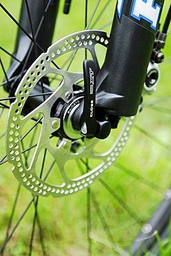 Disc brake on a mountain bike