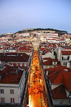 Evening view from the Elevador de Santa Justa (Santa Justa Lift) onto Lisbon, Portugal, Europe