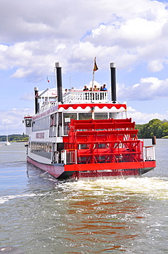 Paddle steamer on the Schlei inlet in the port in Kappeln, Schleswig-Holstein, Northern Germany, Germany, Europe