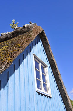 Thatched roof house in Maasholm, Schleswig-Holstein, Germany, Europe
