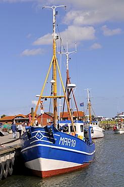 Fishing cutter in Maasholm harbor, Baltic Coast, Schleimuendung or Schlei Estuary, Schleswig-Holstein, Germany, Europe