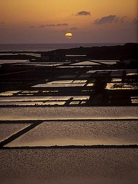 Sunset above the Salinas de Janubio Lanzarote, Canary Islands, Spain, Europe