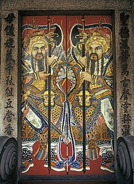 Painted door, guardians inside the taoist Thian Hock Kheng Temple, Telok Ayer Street, Singapore, Southeast-Asia, Asia