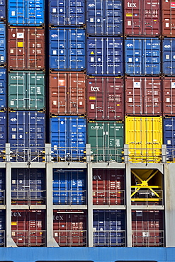 Containers loaded onto a container ship, Burchardkai container terminal, Hamburg Harbour, Germany, Europe