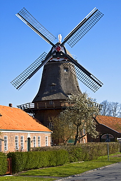 Historical Dutch Schlachtmuehle Windmill with wind rose, Jever, East Friesland, Lower Saxony, Germany, Europe