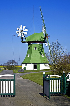 The Erdhollaender, an historic Dutch windmill with wind rose, near Wittmund, East Friesland, Lower Saxony, Germany, Europe