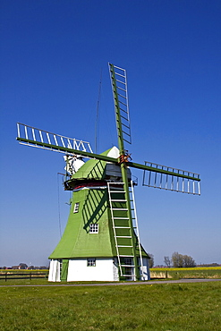 The Erdhollaender, an historic Dutch windmill with wind rose near Wittmund, East Friesland, Lower Saxony, Germany, Europe