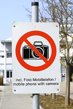 """Factory premises - sign: It is restricted to take pictures even with mobile phone""""."""