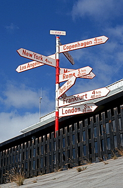 Signposts of the Scandinavian airline SAS at the airport, Soendre Stroemfjord, Greenland