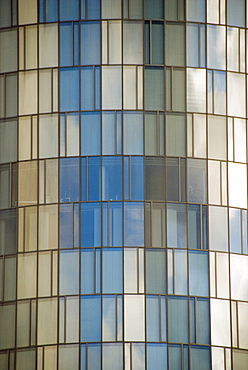 Glass front of the LVR multistory building, Cologne-Deutz, North Rhine-Westphalia, Germany