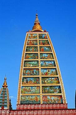 Immitation of the Indian Mahabodi Pagoda, temple complex of the Shwedagon Pagoda, Yangon, Burma, Asia