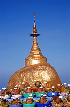 Offerings in front of the Golden Rock, Burma