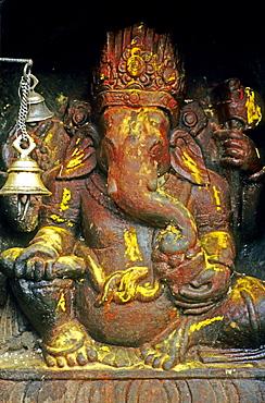 Ganesha, also Ganapati, one of the foremost Hindu deities, stone relief, Kathmandu, Nepal, Asia