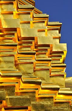 Golden shingles, Sareerikkatartsirirak Pagoda at Wat Phan On, inaugurated by King Bhumipol on June 9, 2007, Chiang Mai, Thailand, Southeast Asia, Asia