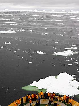 Aboard the Capt. Khlebnikov icebreaker, icebergs, Antarctica