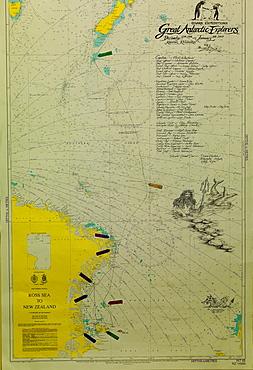Map on the wall of the ice breaker Kapitan Khlebnikov, Antartica