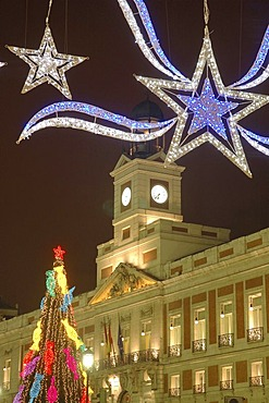 Christmas tree on the Puerta del Sol, Madrid , Spain , Europe