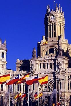 Main post La Casa de Correos at Plaza Cibeles , Madrid , Spain , Europe