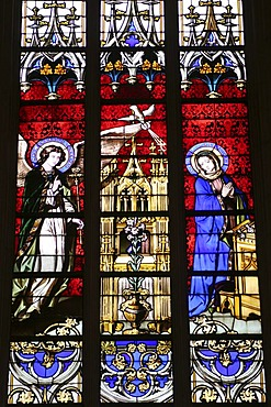 Glass-window in cathedral of Our Beloved Woman , Luxembourg , Europe