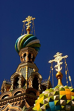 At the Gribojedow canal, church with colorful onion domes , Saint Petersburg , Russia , East Europe