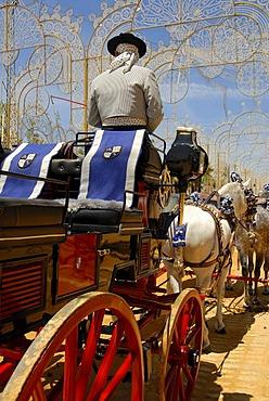 Coachman , Feria de Caballo , Jerez de la Frontera , Cadiz , Andalusia , Spain , Europe