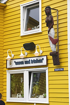 """Restaurant """"Bunte Kuh"""" in the lower town, Heligoland, Schleswig-Holstein, Germany, Europe"""