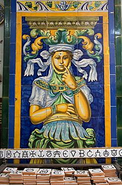 "Azulejo tiles found in ceramics shop ""Ceramica Santa"" in the Triana district of Seville, Andalusia, Spain, Europe"