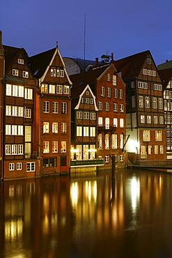 Houses along the Nikolaifleet Canal, Hamburg, Germany, Europe