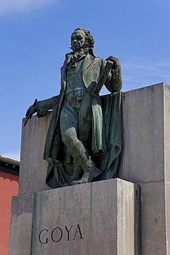 Goya statue, Plaza del Pilar, Zaragoza, Saragossa, Expo city 2008, Province of Aragon, Spain, Europe