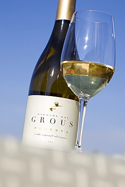 White wine from the winery Herdade dos Grous, or Manor of the Crane, Alentejo Region, Portugal, Europe