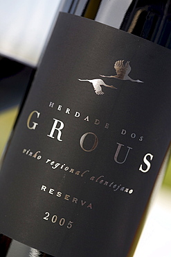 Red wine from the winery Herdade dos Grous, Crane Manor, Alentejo Region, Portugal, Europe