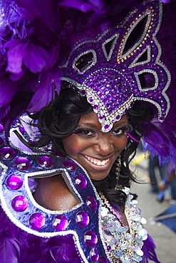 Portrait of Samba dancer, Notting Hill Carnival, London, England, United Kingdom, Europe